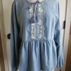 Sanctuary Embroidered Chambray Boho Peasant Top S